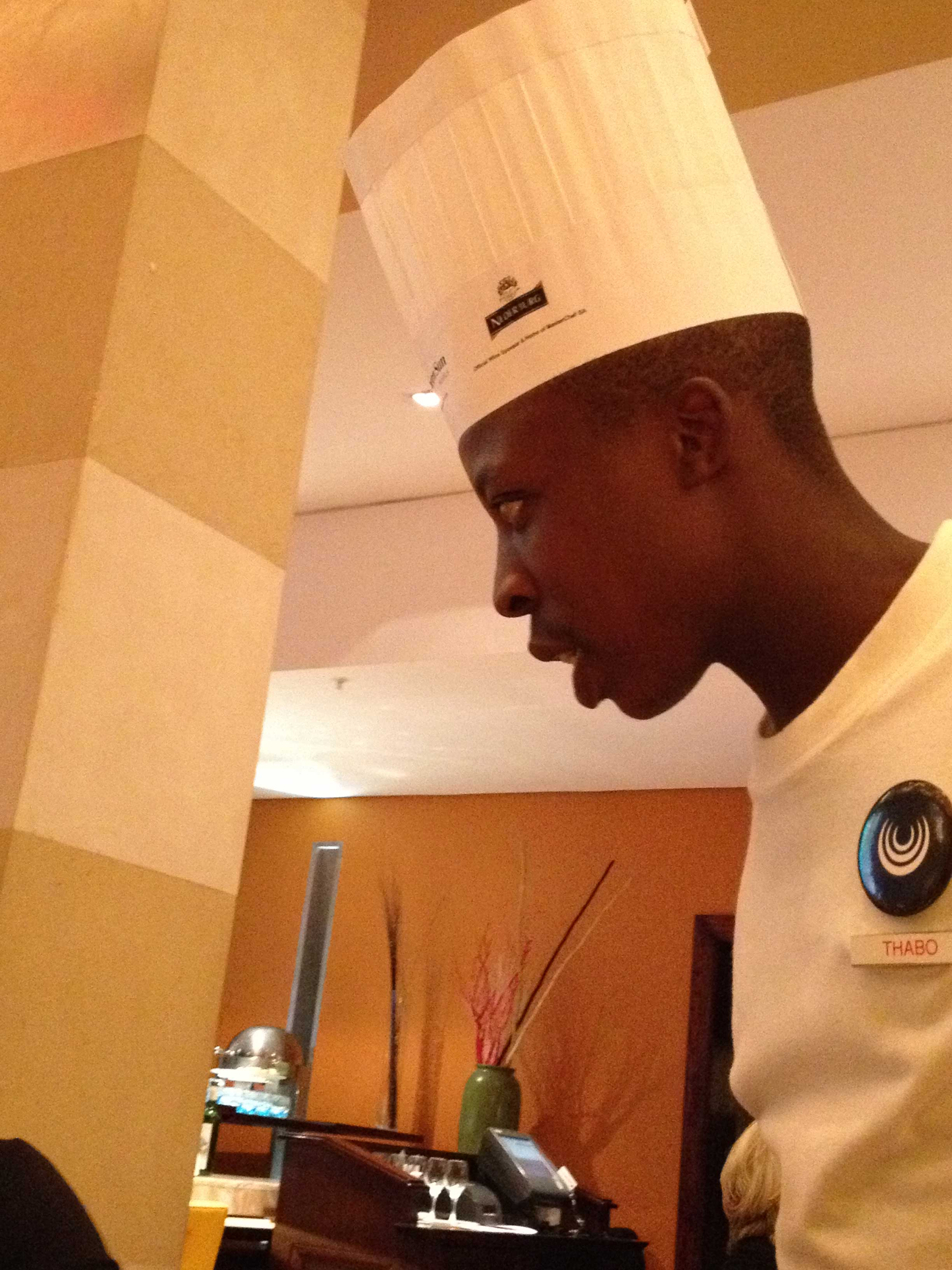Thabo in his chef's hat